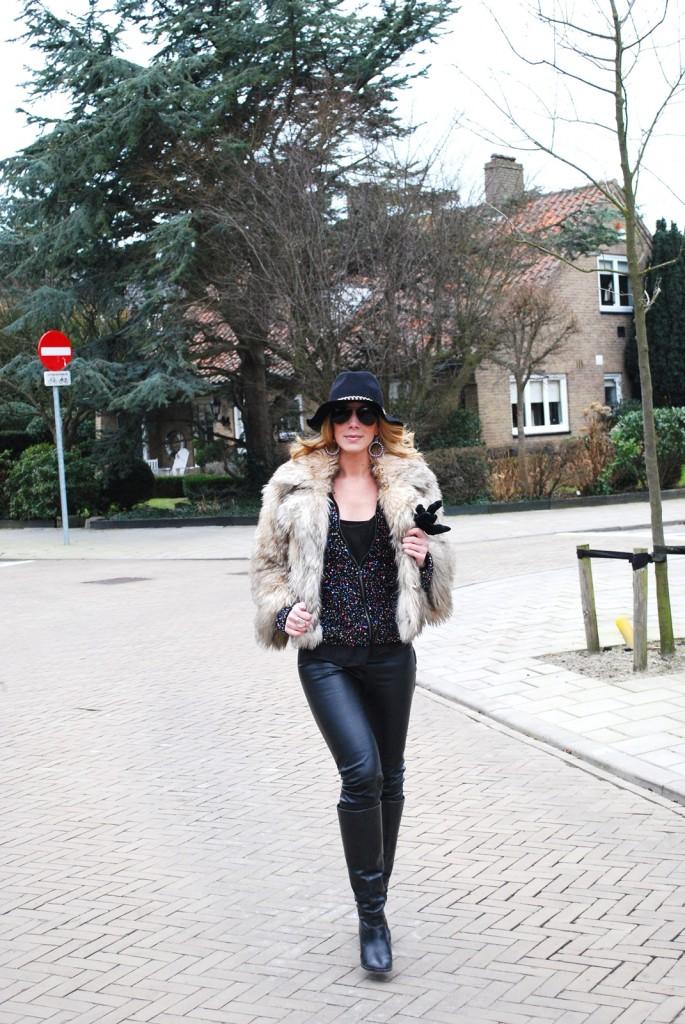 fedora fur coat