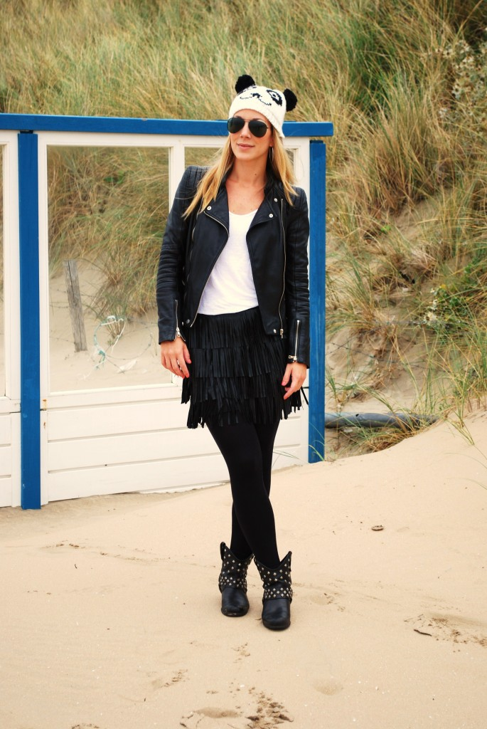 fringe skirt leather jacket beanie