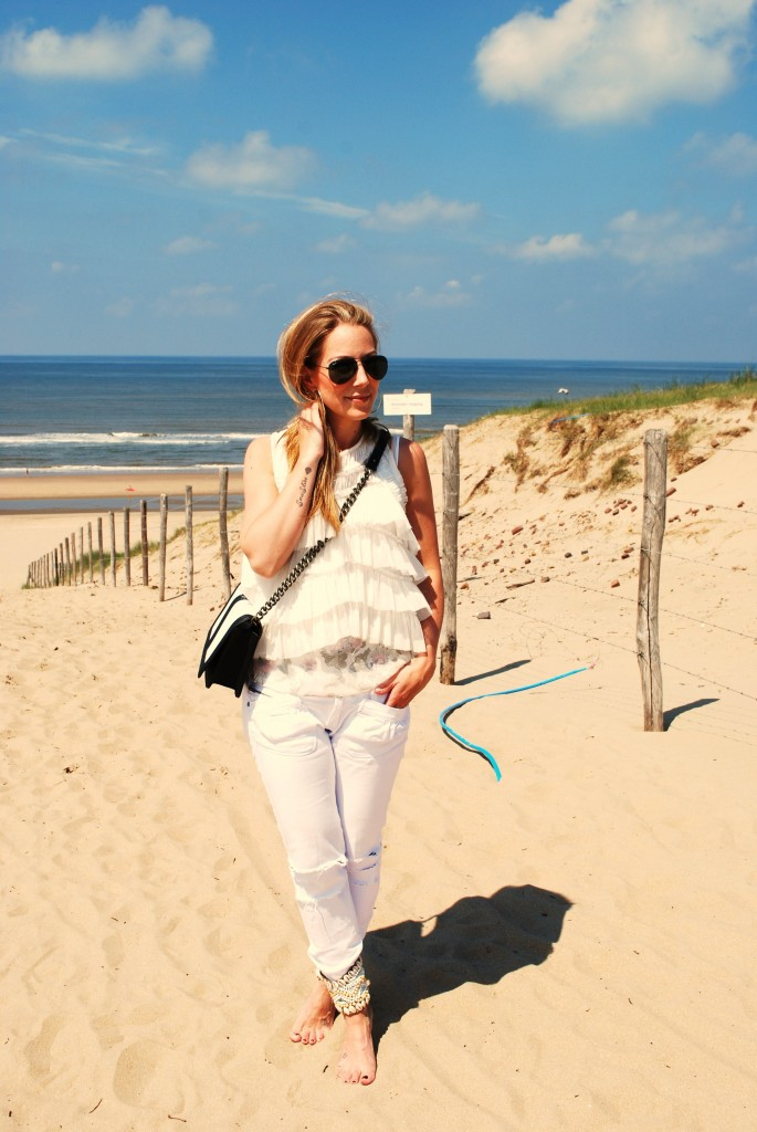 beach all white fashion ankle cuffs