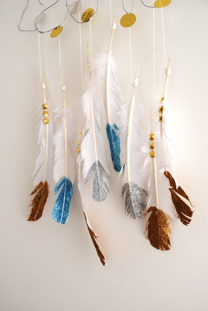 feather glitter diy mobile